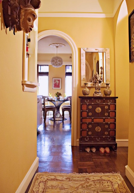 Sherwin Williams Wallpaper Entry Eclectic with Arch Baseboard Ceiling Lighting