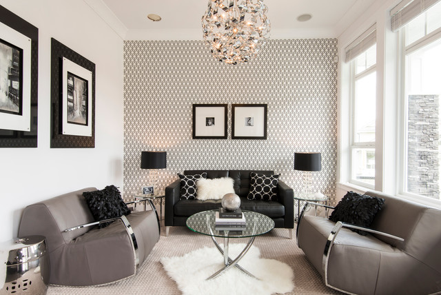 sherwin williams wallpaper Living Room Contemporary with beige carpet black and