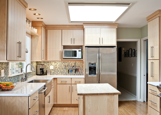 Shiloh Cabinets Kitchen Contemporary with Apron Front Sink Bamboo