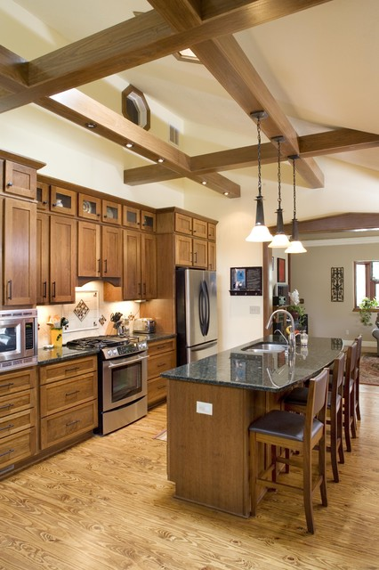 Shiloh Cabinets Kitchen Traditional with Breakfast Bar Ceiling Lighting1
