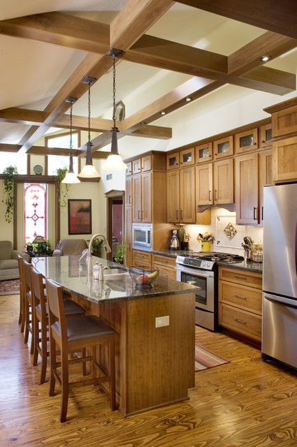 Shiloh Cabinets Kitchen Traditional with Counter Stools Granite Island1