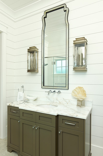 Shiplap Siding Bathroom Tropical with Classic Crown Molding Frame