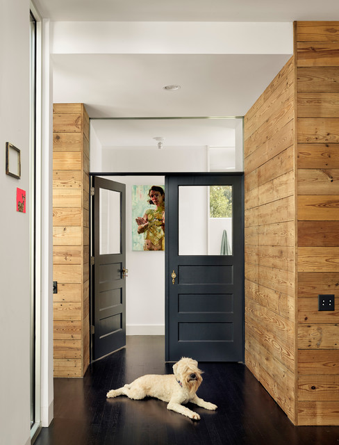 Shiplap Siding Hall Contemporary with Black Door Black Double