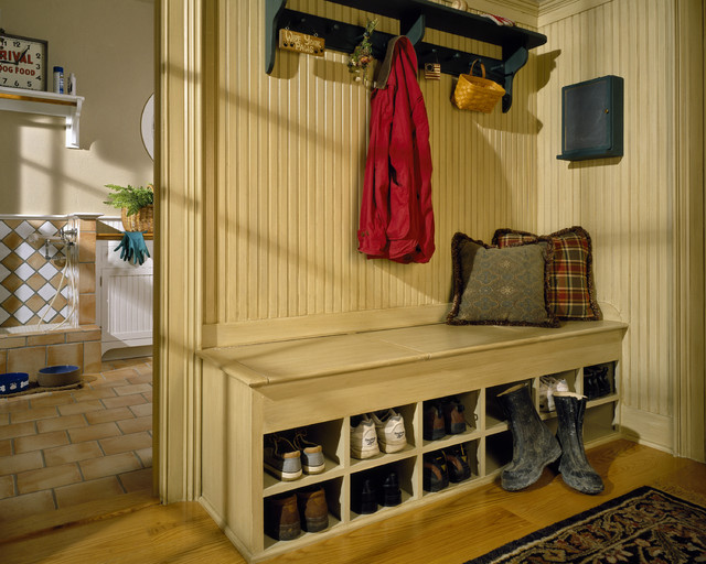Shoe Rack Bench Entry Traditional with Beadboard Built Ins Coat