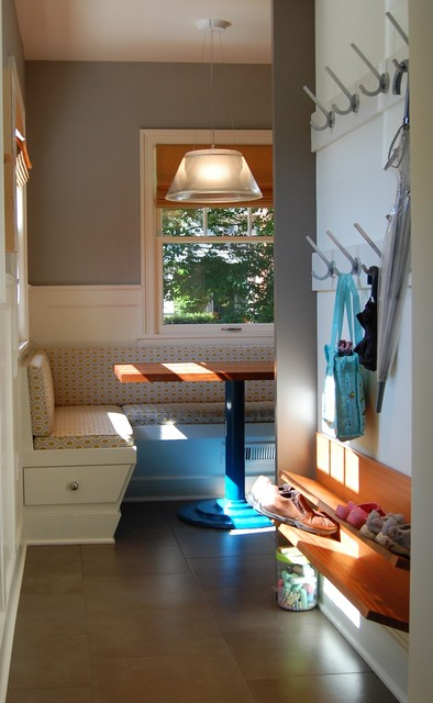Shoe Rack Bench Entry Transitional with Apron Sink Banquette Seating