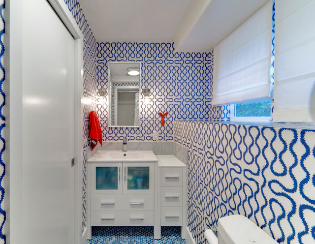 Shoehorn Bathroom Transitional with Bathroom Blue Tiles Cole