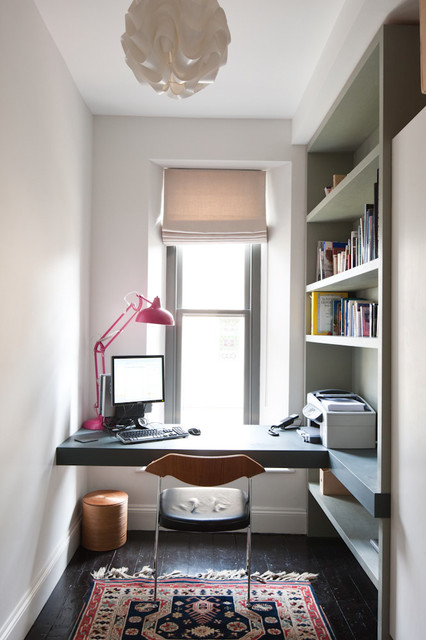 shoehorn Home Office Contemporary with built-in desk built-in shelves