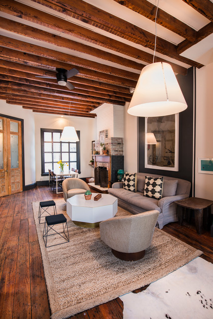 Shoehorn Living Room Eclectic with Brick Fireplace Contemporary Exposed
