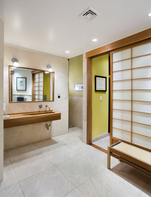 Shoji Screen Bathroom Asian with Bathroom Bench Bathroom Mirror