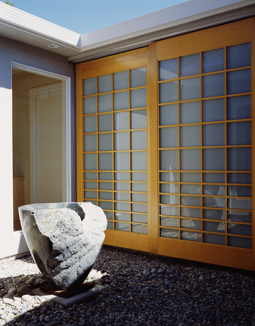 shoji screen Exterior Asian with boulders courtyard garden art
