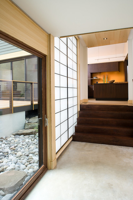 Shoji Screen Hall Asian with Concrete Flooring Entrance Entry