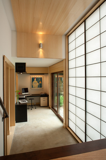 Shoji Screen Hall Asian with Glass Doors Home Office