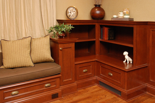 short bookcase Family Room Traditional with baseboards bookcase bookshelves built