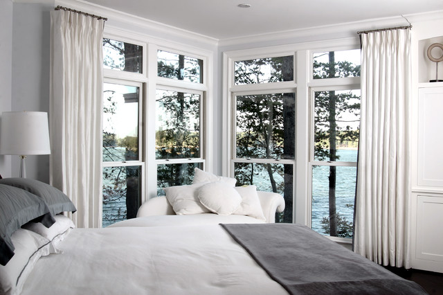 Short Curtain Rods Bedroom Contemporary with Chaise Corner Window Gray