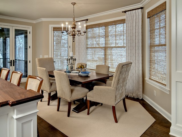 short curtain rods Dining Room Traditional with grass shades neutral color