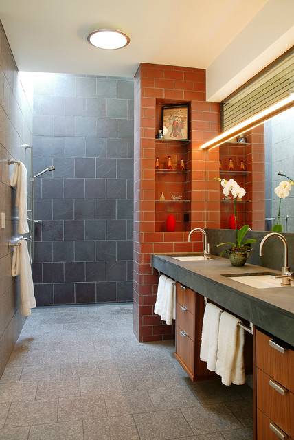 Shower Squeegee Bathroom Contemporary with Ceiling Light Dark Gray