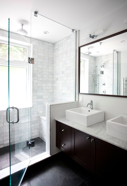 Shower Squeegee Bathroom Transitional with Bathroom Mirror Dark Floor