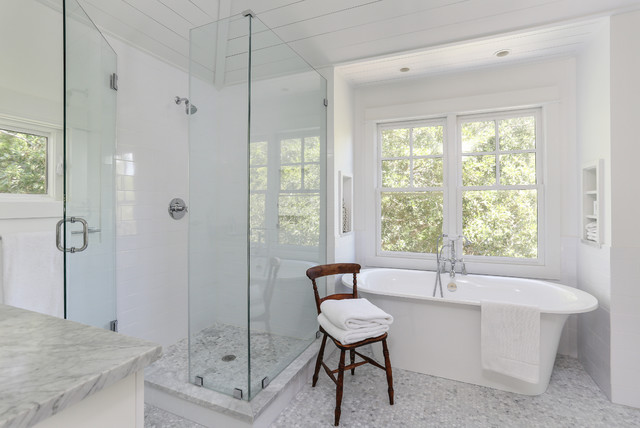 Shower Squeegee Bathroom Transitional with Clean Freestanding Tub Glass
