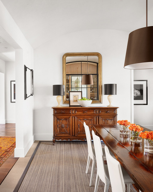 Sideboard Buffet Dining Room Contemporary with Curved Ceiling Floral Arrangement