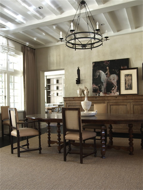 Sideboard Buffet Dining Room Traditional with Area Rug Beams Buffet