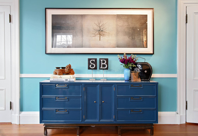 Sideboard Buffet Hall Eclectic with Artwork Blue Entry Hall