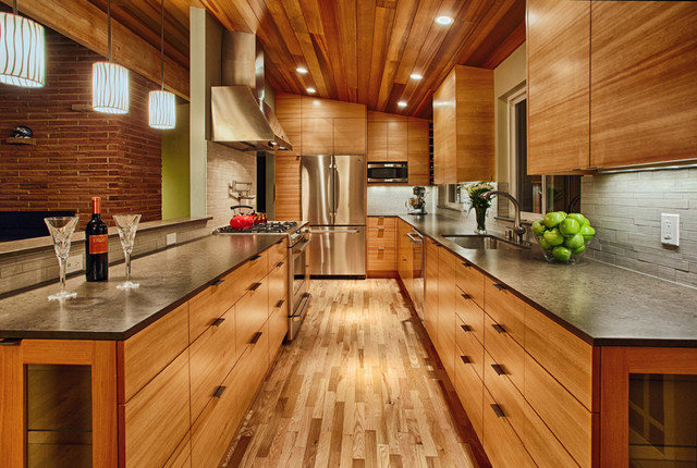 Silestone Countertops Kitchen Contemporary with Mid Century Modern Remodel