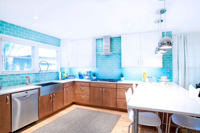Silestone Countertops Kitchen Contemporary with Aqua Blue Subway Tile