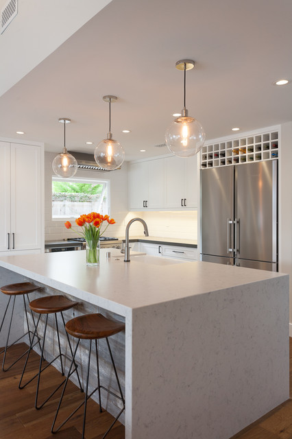 Silestone Countertops Kitchen Contemporary with Built in Wine Storage Caesarstone1