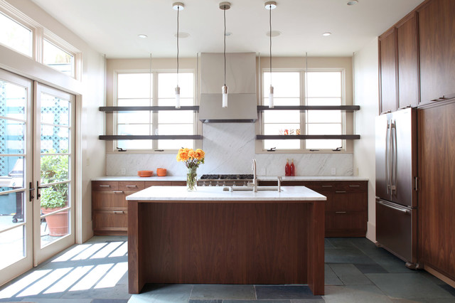 silestone countertops Kitchen Modern with dark wood floating shelves
