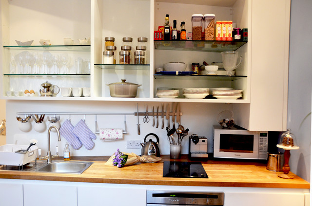 Silicone Oven Mitts Kitchen Eclectic with Open Shelving