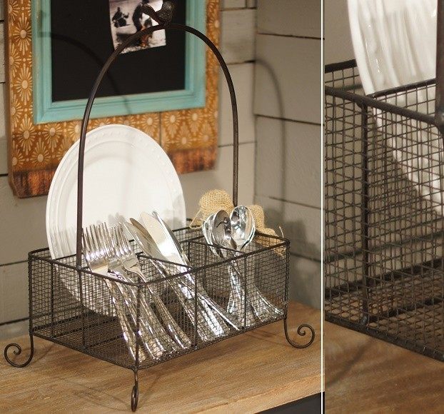 Silverware Caddy Spaces with Country Farmhouse Home Decor