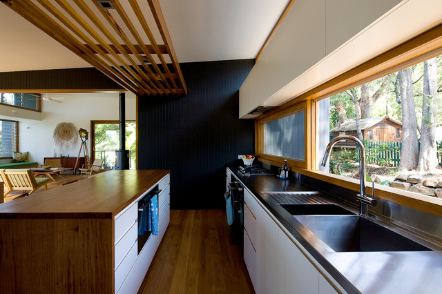 Sink with Drainboard Kitchen Contemporary with Australia Black Wall Bush