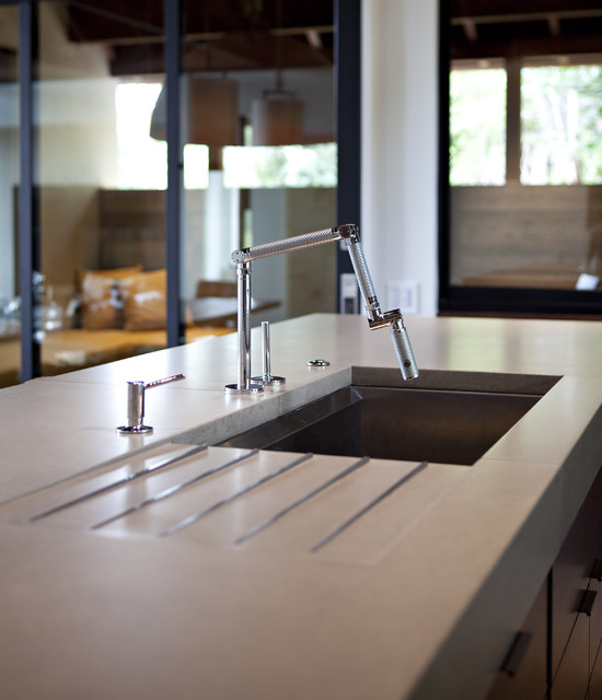 sink with drainboard Kitchen Contemporary with modern cabin