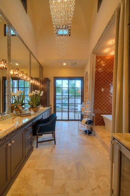 Sitterle Homes Bathroom Mediterranean with Bubble Chandelier Chair Counter