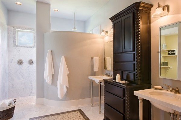 Sitterle Homes Bathroom Modern with Double Sinks Rain Shower
