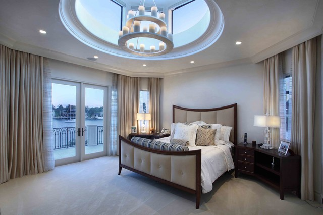 Skylight Shades Bedroom Mediterranean with Balcony Beige Carpet Beige