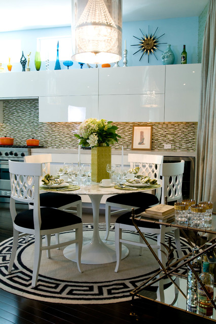 Skylight Shades Dining Room Eclectic with Area Rugs Art Bar