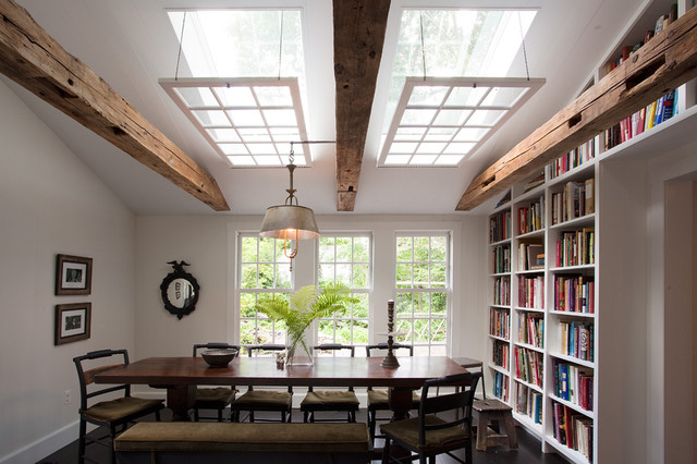 Skylight Shades Dining Room Rustic with Artwork Bookcase Bookshelves Built
