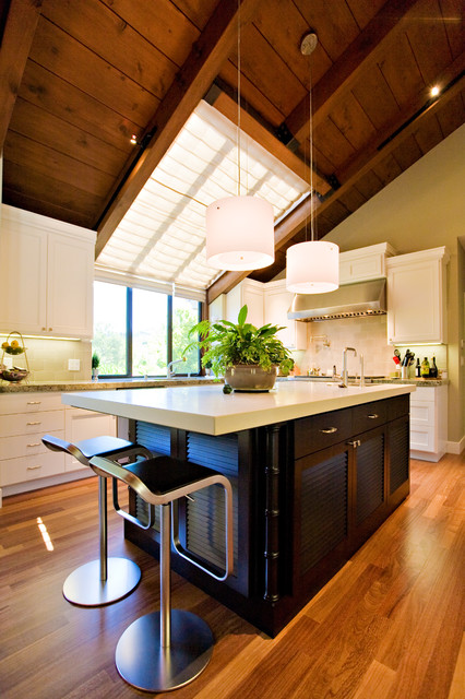 Skylight Shades Kitchen Contemporary with Black Walnut Kitchen Island