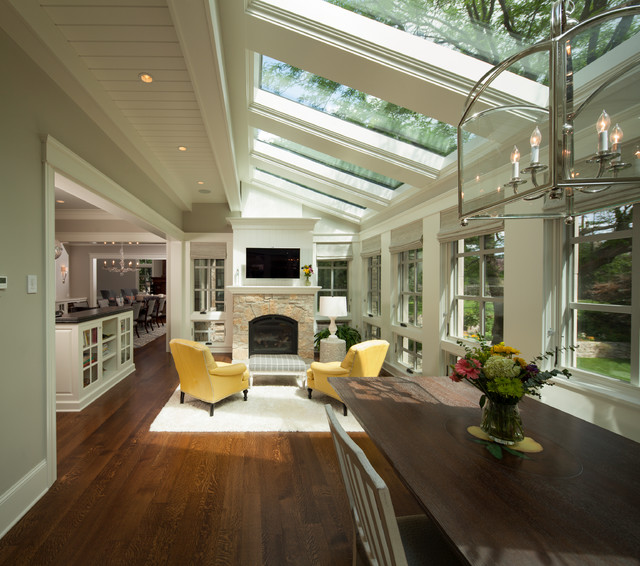 Skylight Shades Sunroom Transitional with Area Rug Breakfast Room