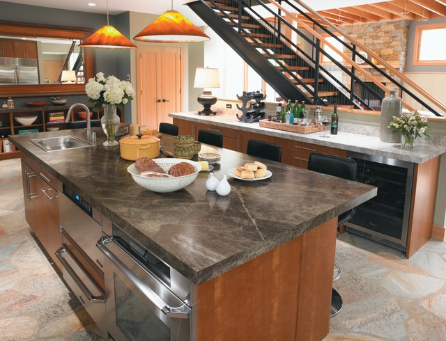 Slate Countertops Kitchen Contemporary with Bar Accessories Breakfast Bar