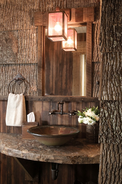 slate countertops Powder Room Rustic with natural wood towel ring