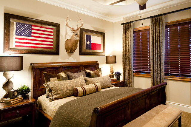 Sleigh Bed Frame Bedroom Traditional with Deer Heads Flags Ranch