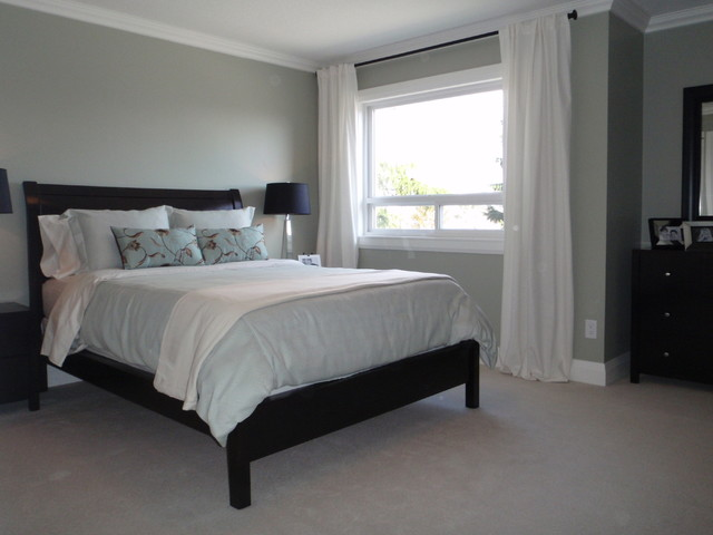 Sleigh Bed Frame Bedroom Transitional with 1980s House Renovation Tsawwassen