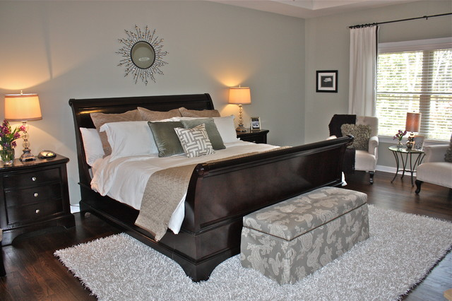 sleigh bed frame Bedroom Transitional with bench drapes flokati rug