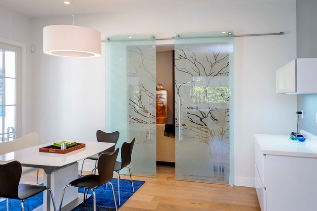 Sliding Glass Door Blinds Dining Room Contemporary with Blue Area Rug Dining