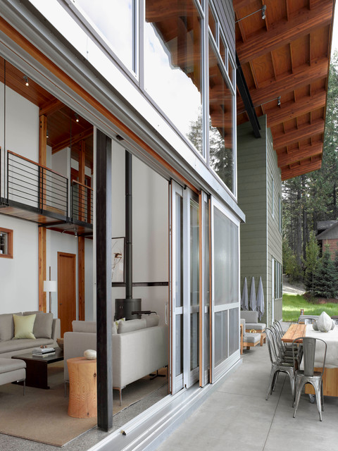 sliding glass door blinds Exterior Contemporary with angled roof concrete pavers