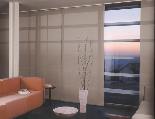 Sliding Panel Blinds Living Room Modern with Balloon Shades Bamboo Shades