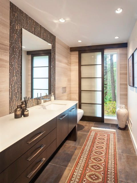 Sliding Panel Blinds Powder Room Contemporary with Custom Vanity Glass Tile