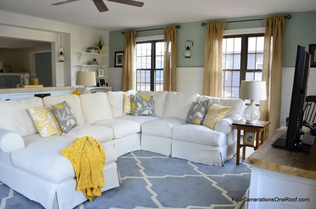 Slipcovered Sectional Family Room Eclectic with Barn Doors Coastal Cottage